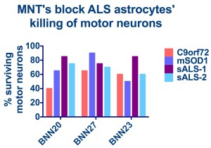 All MNT's increase survival of motor neurons exposed to astrocytes made from ALS patient stem cells. Overall, BNN27 is the most potent of all MNT's tested.
